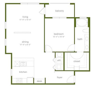1,057 sq. ft. A7 floor plan