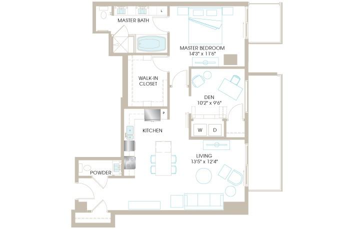 1,100 sq. ft. B6 floor plan