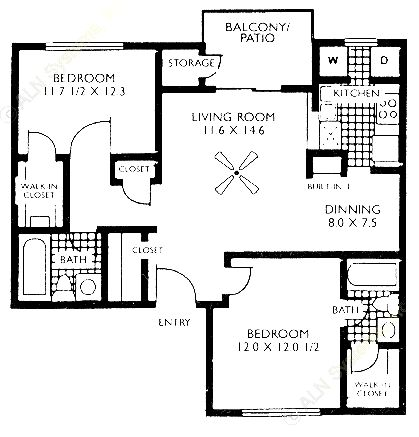 870 sq. ft. B2 floor plan
