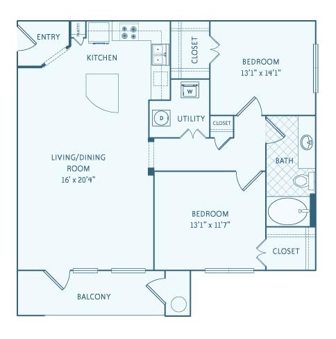 1,086 sq. ft. B1 floor plan