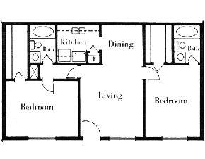 975 sq. ft. 2x2/60 floor plan