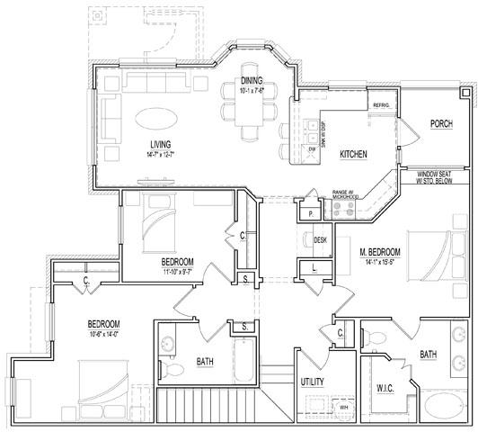 1,533 sq. ft. C1 Up floor plan