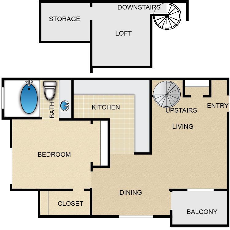 680 sq. ft. Cimarron floor plan