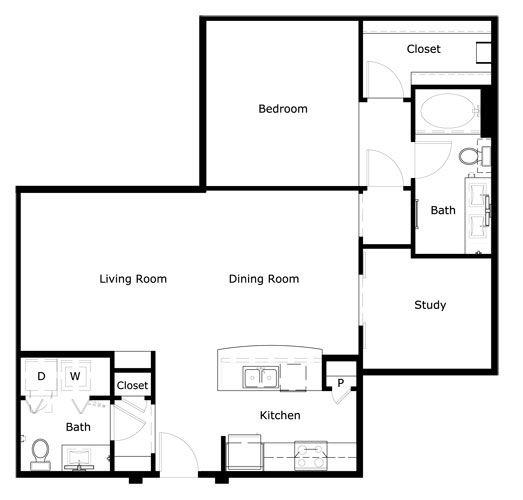 1,056 sq. ft. to 1,127 sq. ft. A3-II floor plan