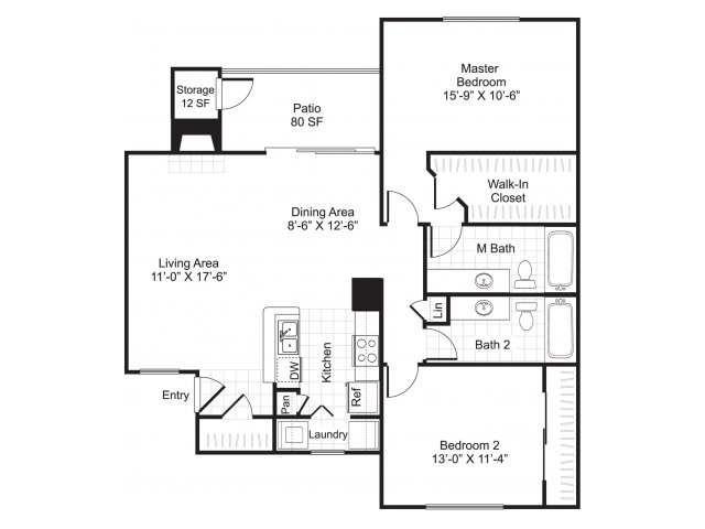 1,000 sq. ft. B2/Rockfish floor plan