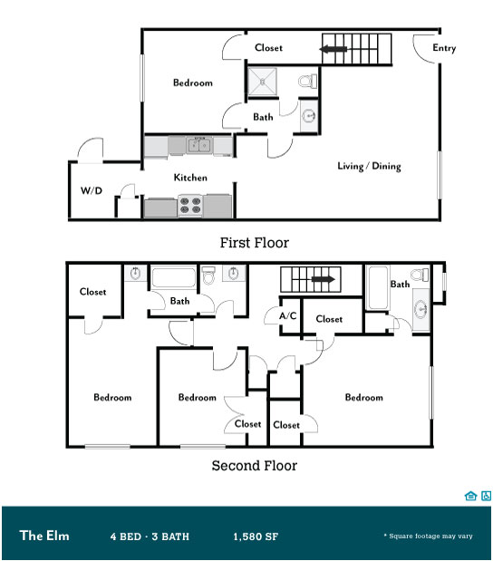 1,580 sq. ft. Elm floor plan