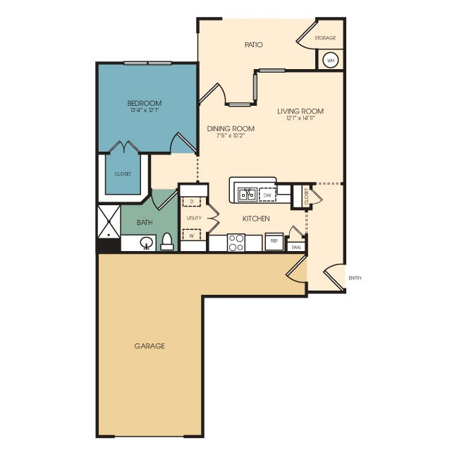 805 sq. ft. Falcon floor plan