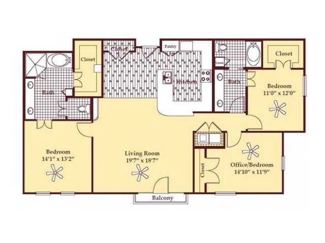 1,518 sq. ft. C1 floor plan