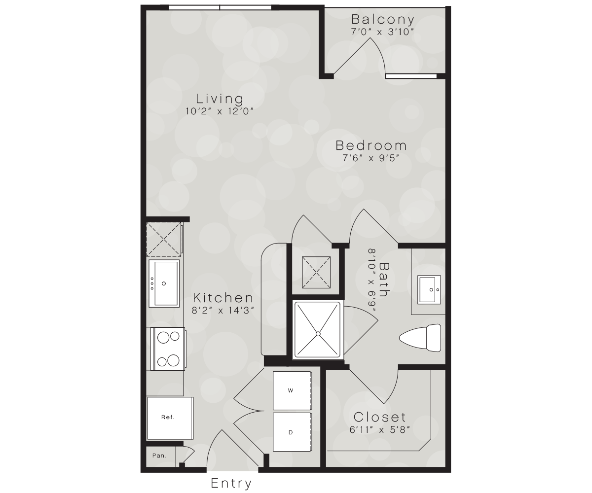 471 sq. ft. A7 floor plan