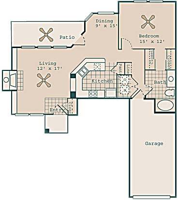 905 sq. ft. Harlow floor plan