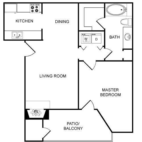 738 sq. ft. Cardist floor plan