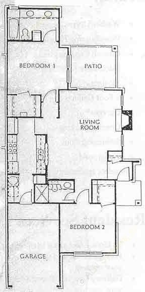 1,110 sq. ft. B3- TH floor plan