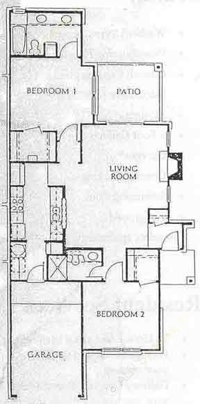 1,110 sq. ft. B3- TH floor plan