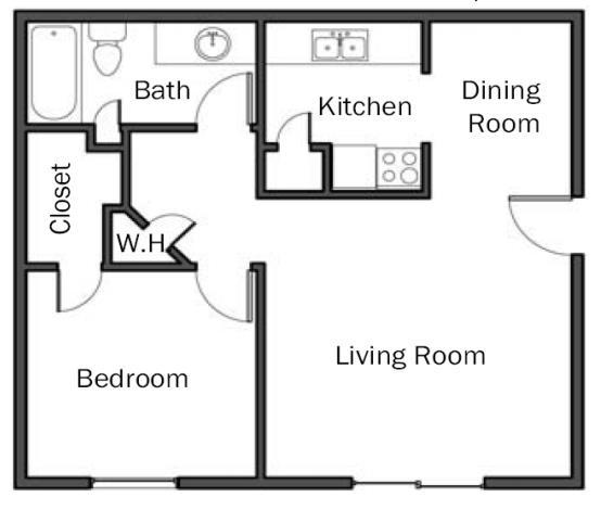 620 sq. ft. A2 floor plan