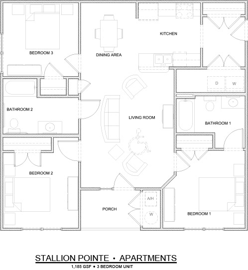 1,185 sq. ft. 3 Bedroom/60% floor plan