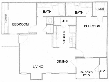 983 sq. ft. C floor plan