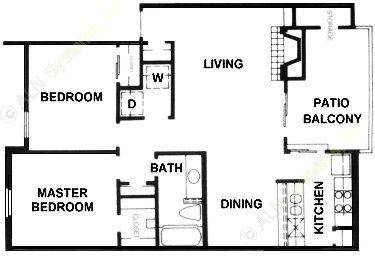 904 sq. ft. B3 floor plan