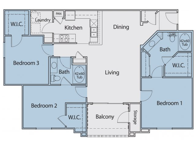1,407 sq. ft. C1-II 60 floor plan