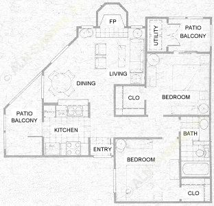 750 sq. ft. B1 floor plan