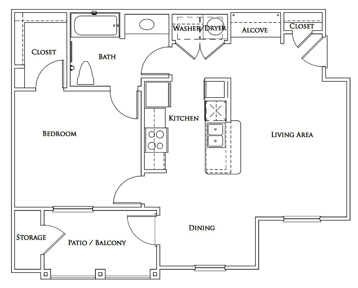763 sq. ft. Mkt floor plan
