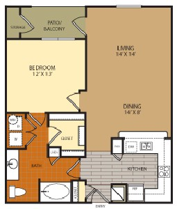 851 sq. ft. A4 floor plan