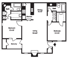 1,148 sq. ft. E floor plan