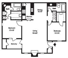 1,148 sq. ft. E floor plan