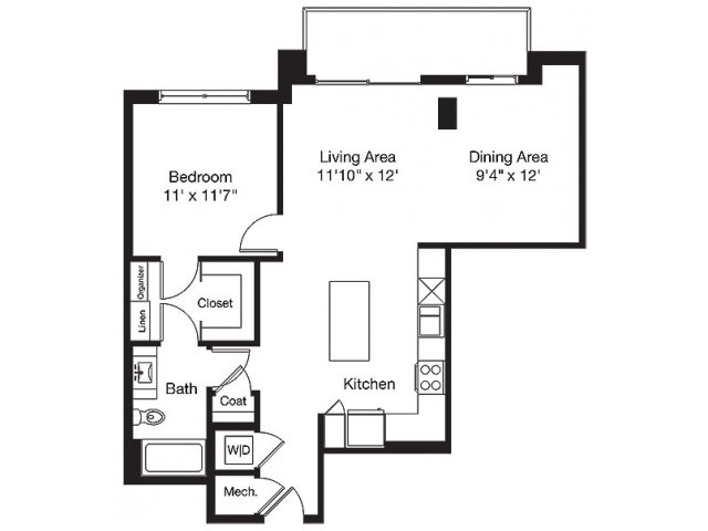 905 sq. ft. TE floor plan