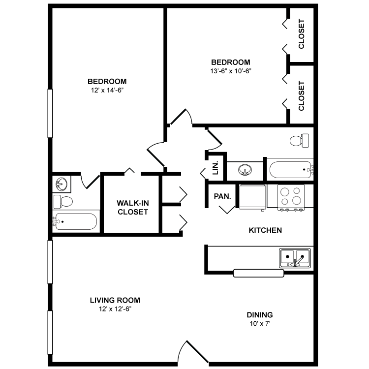 950 sq. ft. Oak floor plan