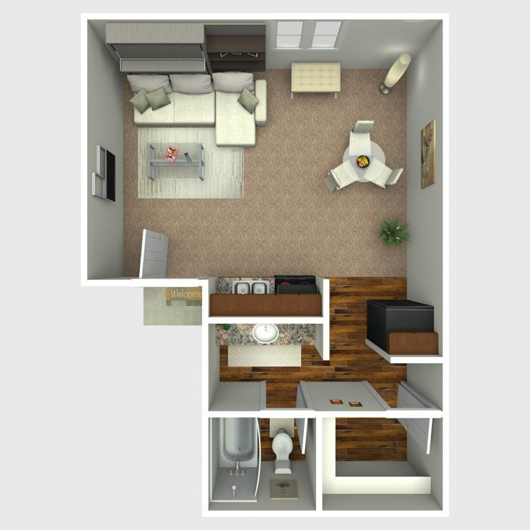 313 sq. ft. E2 floor plan