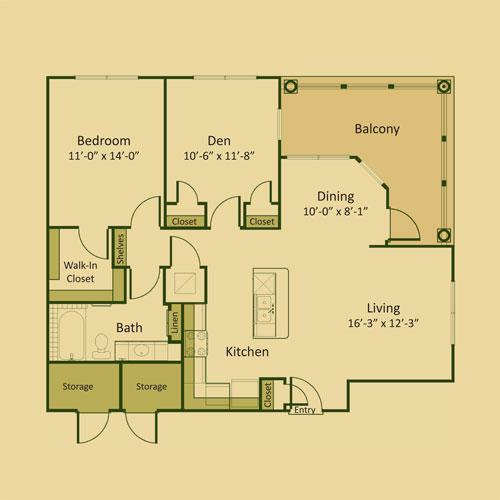 975 sq. ft. 1AD floor plan
