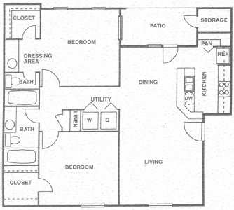 998 sq. ft. F floor plan