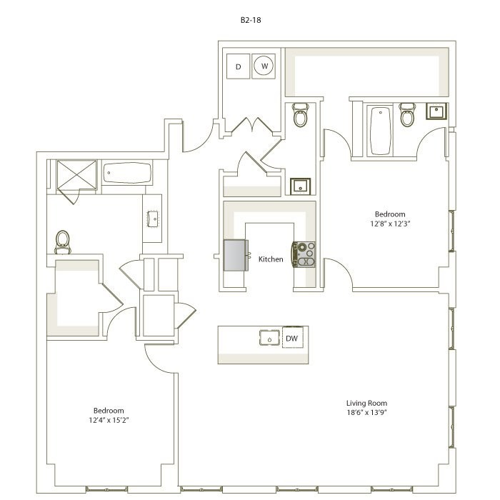 1,499 sq. ft. B2-18 floor plan
