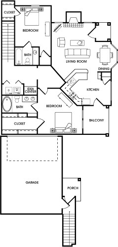 1,231 sq. ft. Paprika floor plan