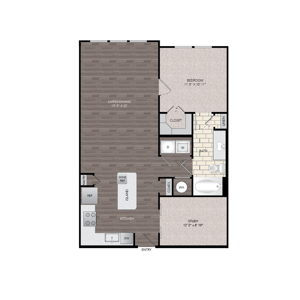 924 sq. ft. A5A floor plan