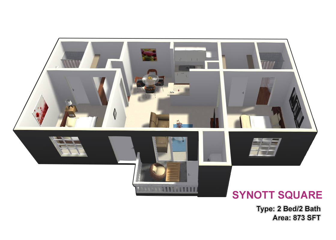 873 sq. ft. D floor plan