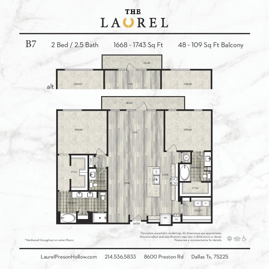 1,668 sq. ft. to 1,743 sq. ft. B7 floor plan