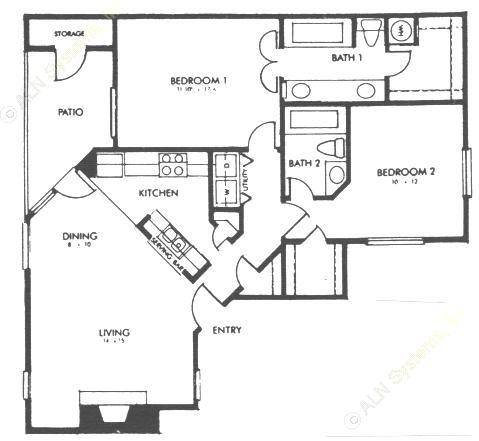 1,009 sq. ft. E floor plan