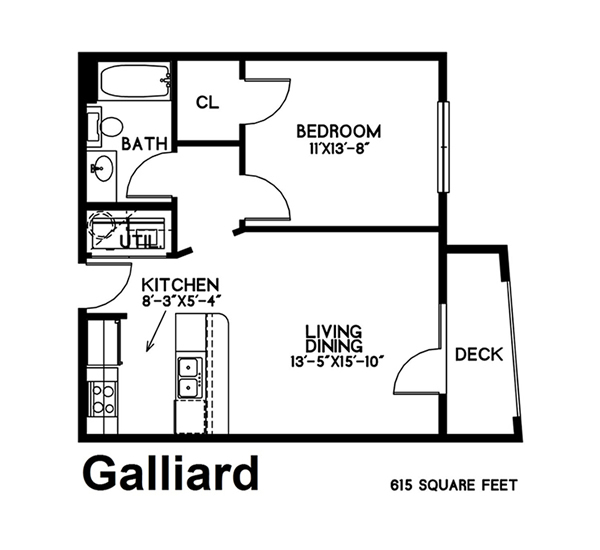 615 sq. ft. Galliard floor plan
