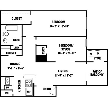 810 sq. ft. MIRAGE floor plan
