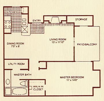 710 sq. ft. 1A floor plan