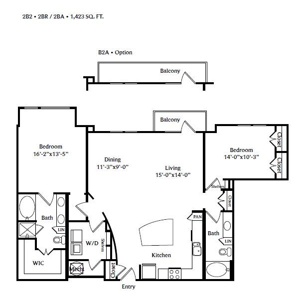 1,423 sq. ft. 2B2A floor plan