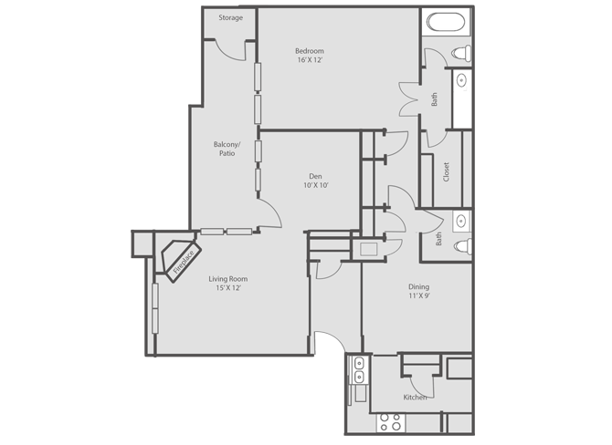 1,016 sq. ft. floor plan