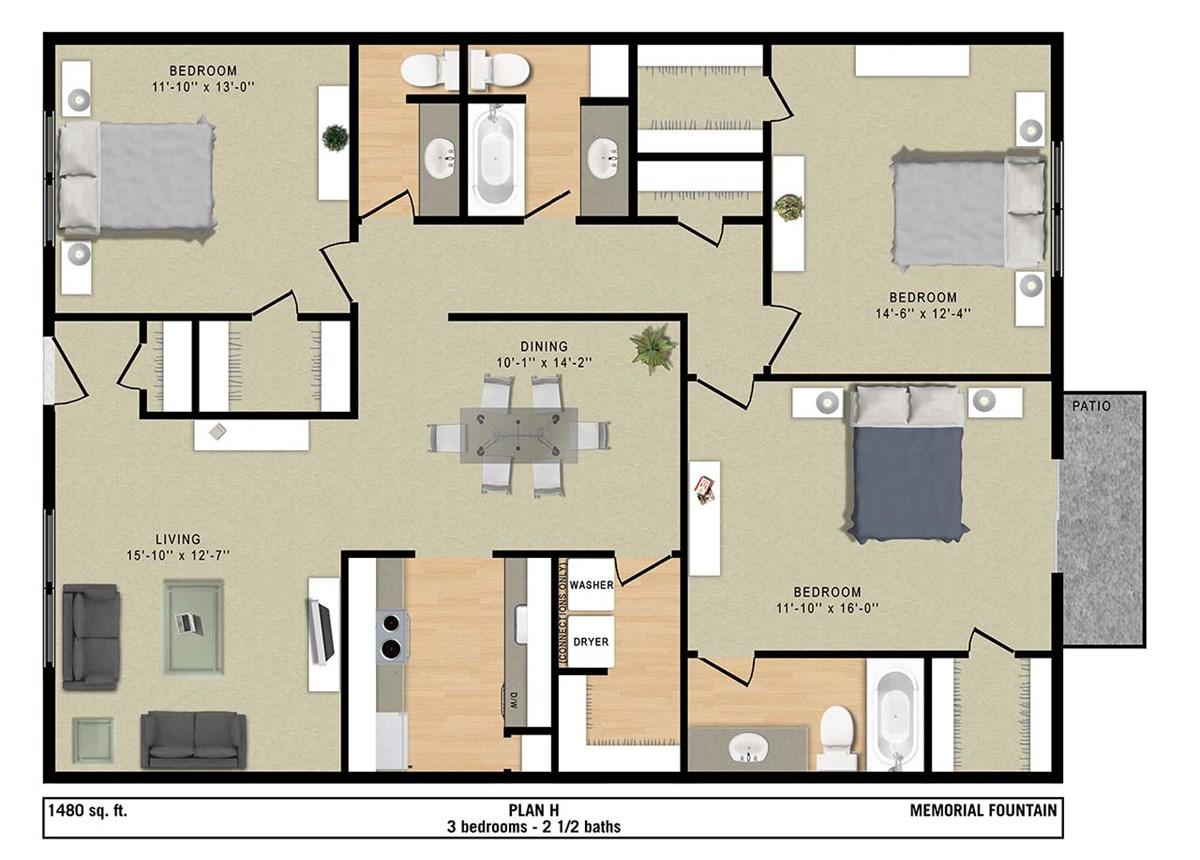 1,480 sq. ft. H floor plan