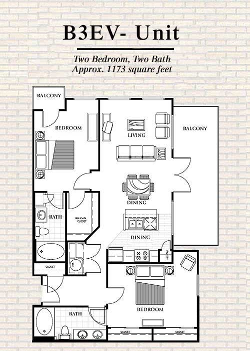1,173 sq. ft. B3 floor plan