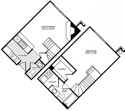 802 sq. ft. floor plan