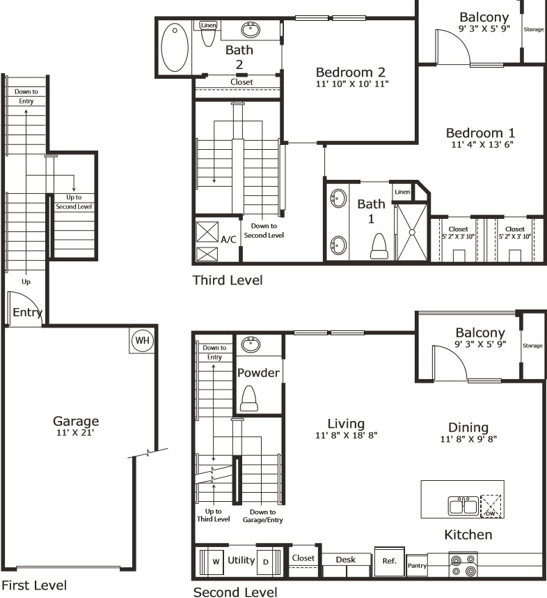 1,336 sq. ft. B7G floor plan