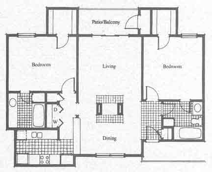 1,012 sq. ft. D floor plan