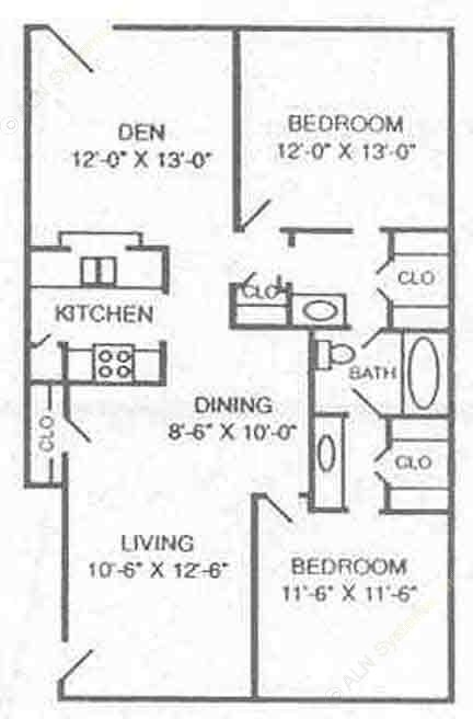 1,090 sq. ft. B3 floor plan