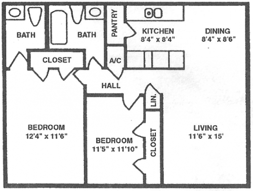 802 sq. ft. B floor plan